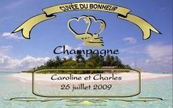 Etiquette champagne personnalisée iles soleil antilles