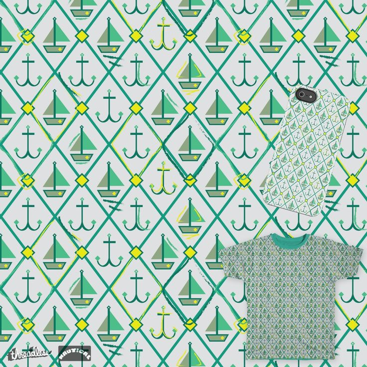 Boats and Anchors by Sz.J.design on Threadless # szjdesign # t-shirt print # pattern