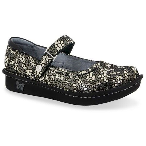 Alegria By Pg Lite Pewter Mosaic Belle Mary Jane - Women's ($110) ❤ liked on Polyvore featuring shoes, pewter mosaic, alegria mary janes, mary jane shoes, alegria footwear, pewter shoes and alegria shoes
