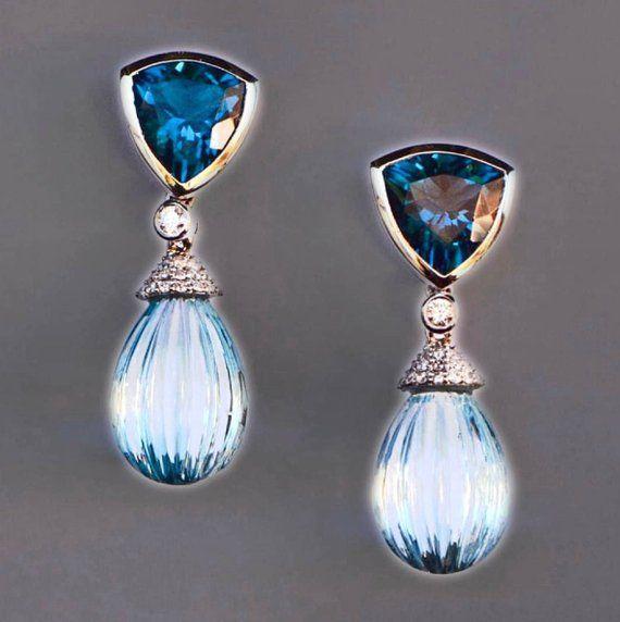 Blue Topaz & Diamond Earrings, 14k White Gold Dangly Earrings, Blue Gemstone Earrings, Gift for Women, November Birthstone Jewelry, Gift Her