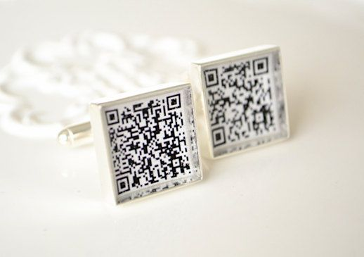 QR Code Cufflinks - Personalized Keepsake gifts for your wedding day or social media marketing