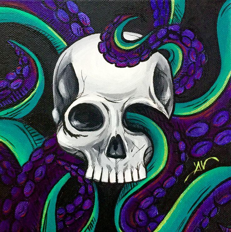 Octoskull. Acrylic on canvas  25 x 25 cm  Follow me on facebook and instagram : @DanielaValentiniArt