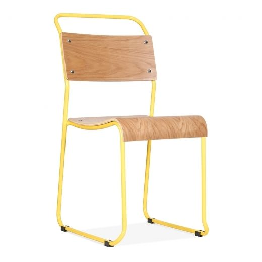Bauhaus Industrial Yellow Stackable Chair   Dining Chairs   Cult UK