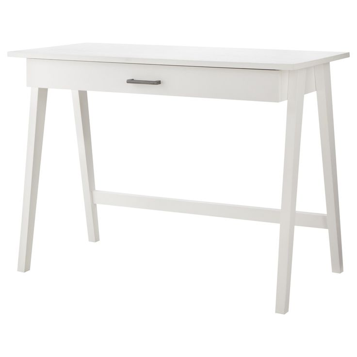 Up the style ante in your space with a Threshold Basic Desk. It's ideal for smaller spaces like dorm rooms or studio apartments where you need to make the most of the room you've got. The writing desk has 1 drawer for storing writing materials and other office stuff. Whether you're crafting, paying the bills or studying for finals, you'll be ready and in style with this home office desk.