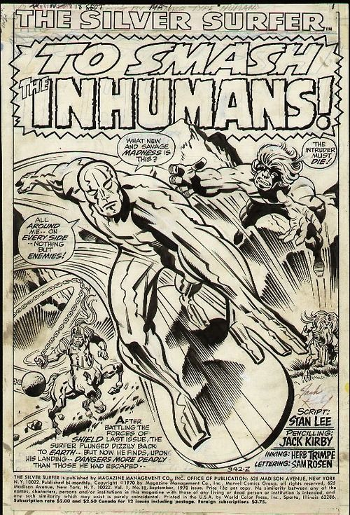 The opening splash page to SILVER SURFER #18 by Jack Kirby and Herb Trimpe.