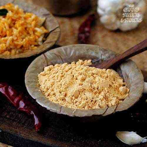Garlic is a native Germanic word composed of two elements: 'gar' meaning 'spear', referring to the pointed leaves and 'lic' meaning 'appearing in full form'.  #GrandSweetsOnline #SouthIndian #Podi  https://thegrandsweetsandsnacks.com/garlic-podi.html II Blazing Fast Delivery Across Chennai II II Expedited Delivery Worldwide II