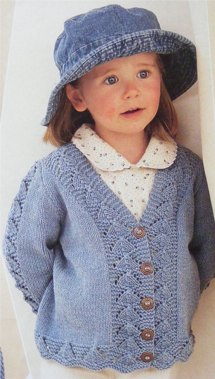 Girls Cardigan PDF Knitting Pattern : Childrens and Toddlers 20, 22, 24, 26, 28 and 30 inch chest . Lacy Patterned . Digital Download by PDFKnittingCrochet on Etsy