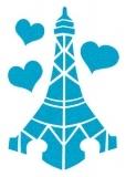 Blue Eiffel Tower Glitter Tattoo