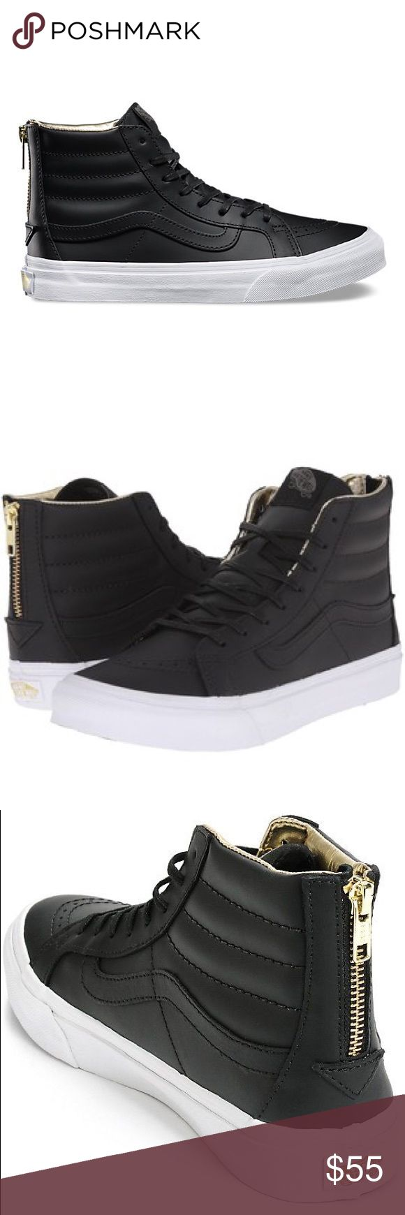 Vans Black/Gold Leather SK8-Hi Slim Zip Classics The Leather Sk8-Hi Slim Zip combines a slimmed down version of the legendary lace-up high top with a zipper entry at the heel, premium leather uppers, signature waffle rubber outsoles, and padded collars for support and flexibility. The shoes pictures here are the exact pair for sale. Women size 9 or men's 7.5 Vans Shoes Sneakers