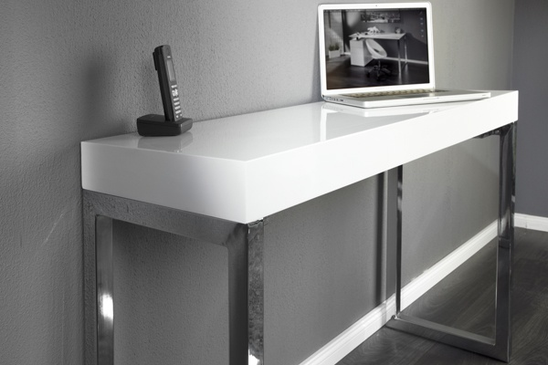 Design laptoptisch white desk 120cm hochglanz weiss bei for Design laptoptisch