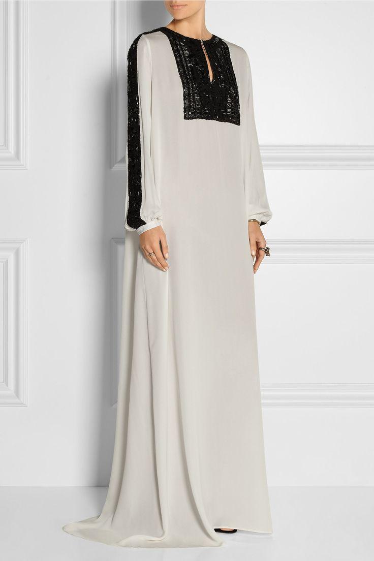Oscar de la Renta | Embellished lace-paneled silk-chiffon gown | NET-A-PORTER.COM