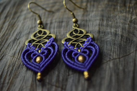 Macrame earrings in purple colour with brass beads and celtic knot charm.  For more earrings click here:  https://www.etsy.com/shop/IndigoMacrame?ref=hdr_shop_menu&section_id=19648964  See our shop here:  https://www.etsy.com/shop/IndigoMacrame