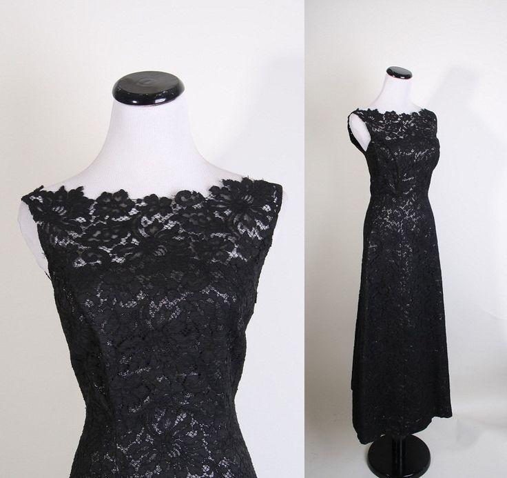 Evening Gown / Vintage Lace / Metallic / Long Dress / Black Dress / Mad Men / Couture / Illusion Lace / 1095. $188.00, via Etsy.