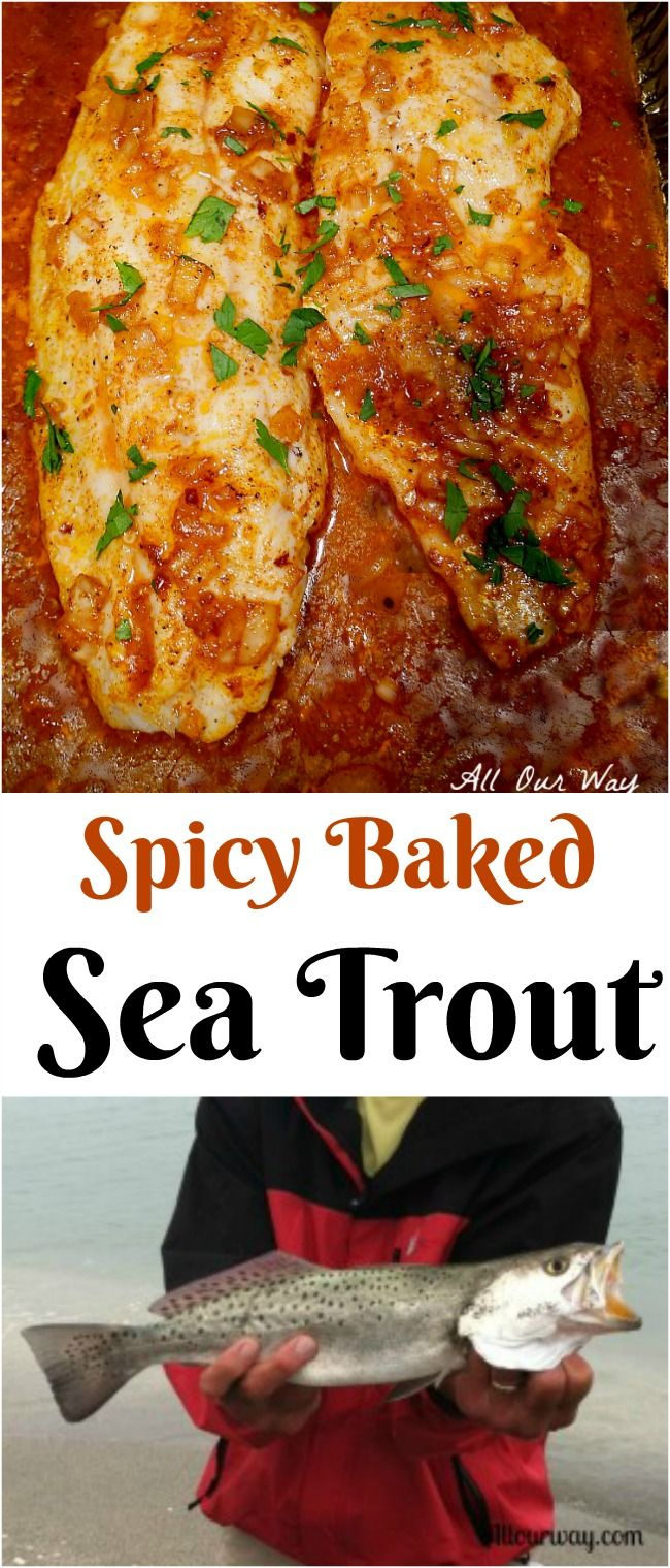 Sea Trout baked in a spicy lemon sauce. A delicious and easy seafood dish.#sea_trout, #baked_sea_trout, #baked_fish, #spicy_baked_fish, #allourway