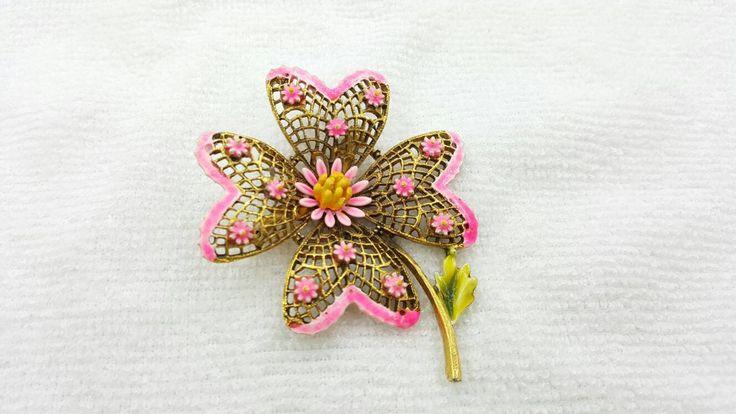 Art Flower Brooch Hot Pink Gold tone large Retro MCM signed ART #jewellery #brooch