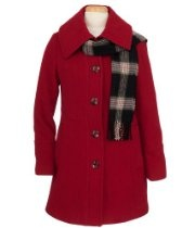 Women's London Fog Single-Breasted Wool Coat with Scarf