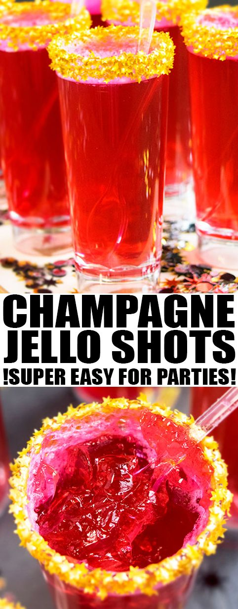 Quick and easy CHAMPAGNE JELLO SHOTS recipe, made with a few simple ingredients. Great for serving at New Year's parties with many flavor possibilities. From cakewhiz.com {Ad} #champagne #jello #recipes #newyear