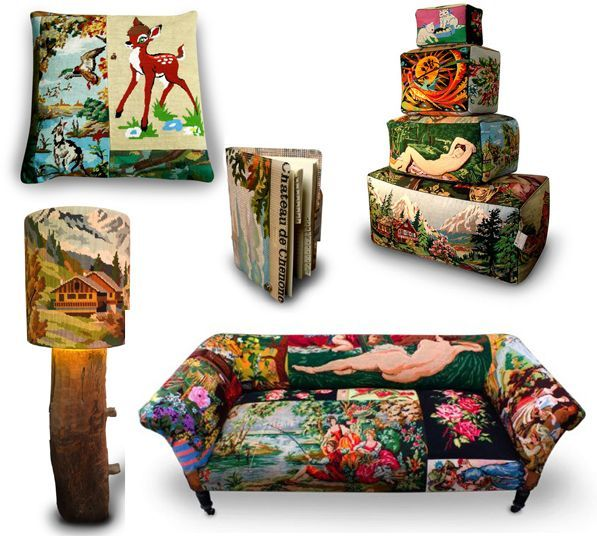upcycled needlepoint | Needlepoint cushions and objecst by Frederich Morrel