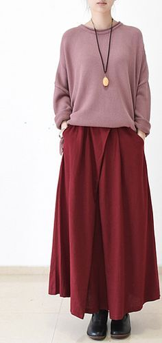 2016 fall Burgundy linen skirt plus size long maxi skirts