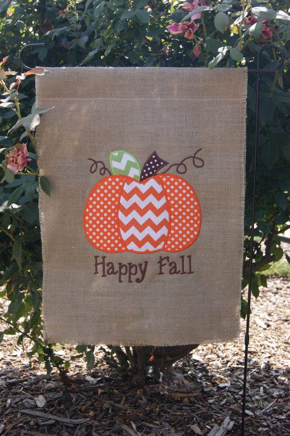 Fall Pumpkin Burlap Garden Flag Embroidered by lilyandlukegifts
