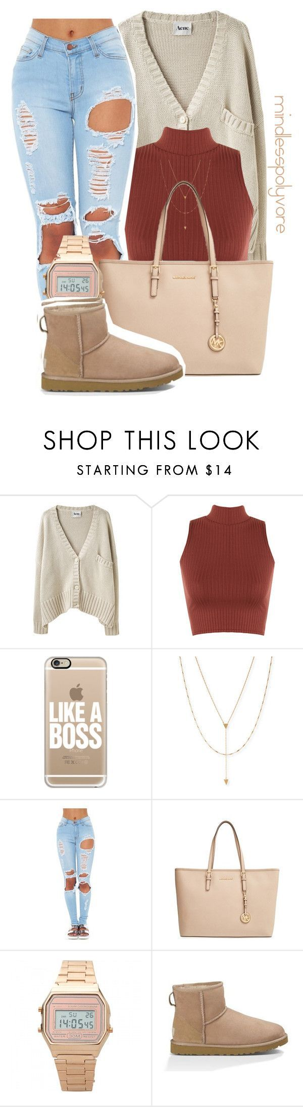 """"""" Can't pick your family but you can choose your friends """" by mindlesspolyvore ❤ liked on Polyvore featuring Acne Studios, WearAll, Casetify, Jennifer Zeuner, MICHAEL Michael Kors and UGG Australia"""