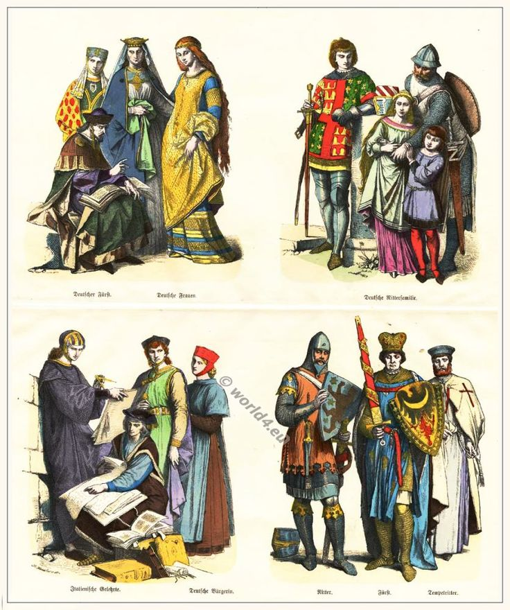 Medieval German and Italian clothing in the 13th Century.