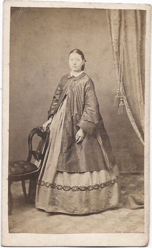 1860s Woman in Fine Maternity Dress Over Jacket by Capron Springfield Oh   eBay