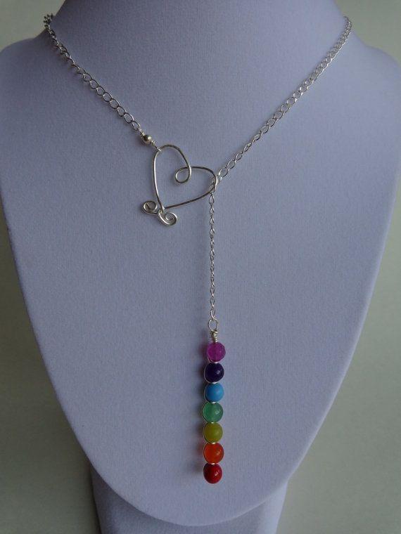 Siete Chakras Lariat collar, collar de piedras preciosas, meditación collar, hecho a mano por Iris joyas creaciones.