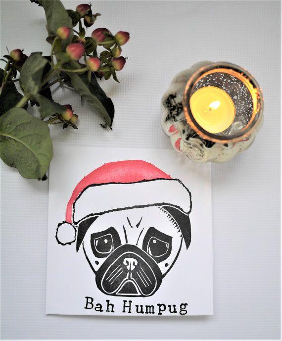 Pug Christmas Card Lino Print Handprinted 'Bah Humpug' santa pug by The Black Pug Press