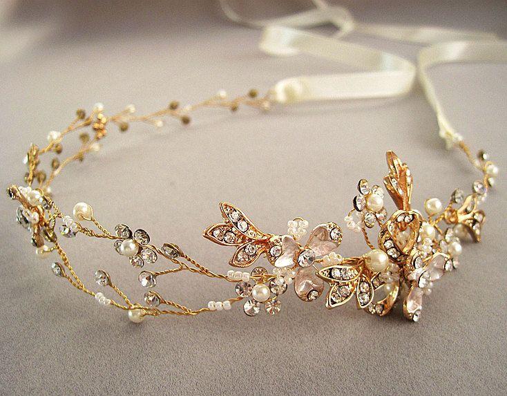 Floral hair vine, wedding headband, bridal headpiece, Wedding halo, Pearl  rhinestone headband, Ribbon, Gold ,Nature inspired by Angelicbridal on Etsy https://www.etsy.com/listing/228853463/floral-hair-vine-wedding-headband-bridal