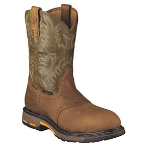 Ariat Workhog Safety Toe Pull-On Work Boots for Men - Aged Bark/Army Green - 10.5 M