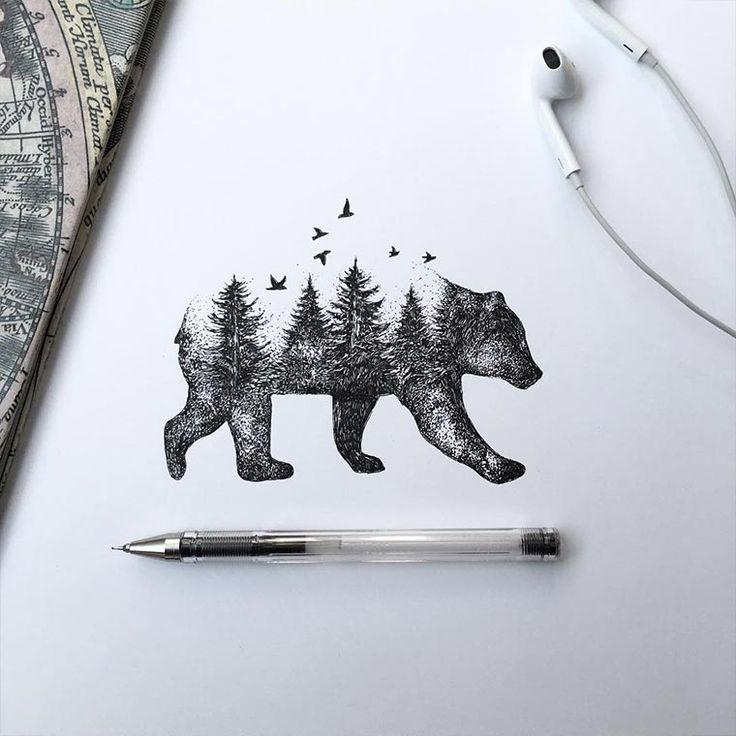 Sehr sauber und filigran ausgearbeitete Zeichnungen von Alfred Basha aus Italien. Er misch gekonnt Natur mit Tier, indem er Tierformen aus Ästen und Zweige