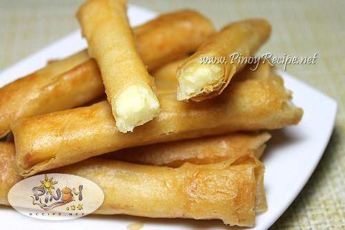 Filipino Cheese Sticks Recipe http://www.pinoyrecipe.net/filipino-cheese-sticks-recipe/
