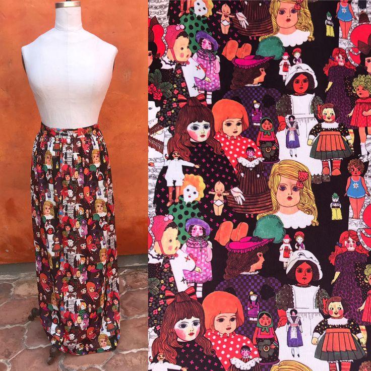 OOAK Vintage 1970s Dolls Doll Faces Novelty Print Maxi Skirt #OOAK #Everyday