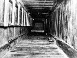 Tunnel shaft shored by bedboards Stalag Luft III