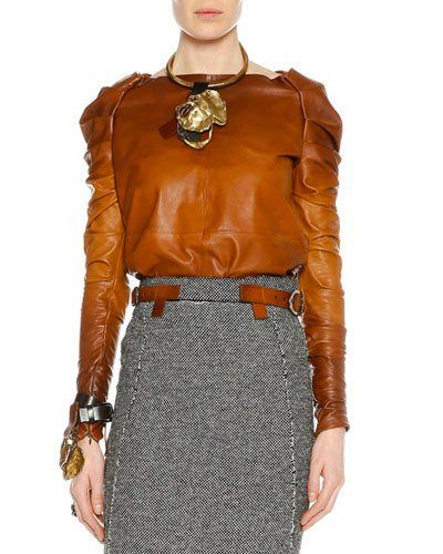 Tom+Ford+Shirred+Long+Sleeve+Degrade+Leather+Top+Cognac+|+Clothing