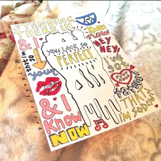 Lyric drawing for 5SOS's song She Looks So Perfect ...