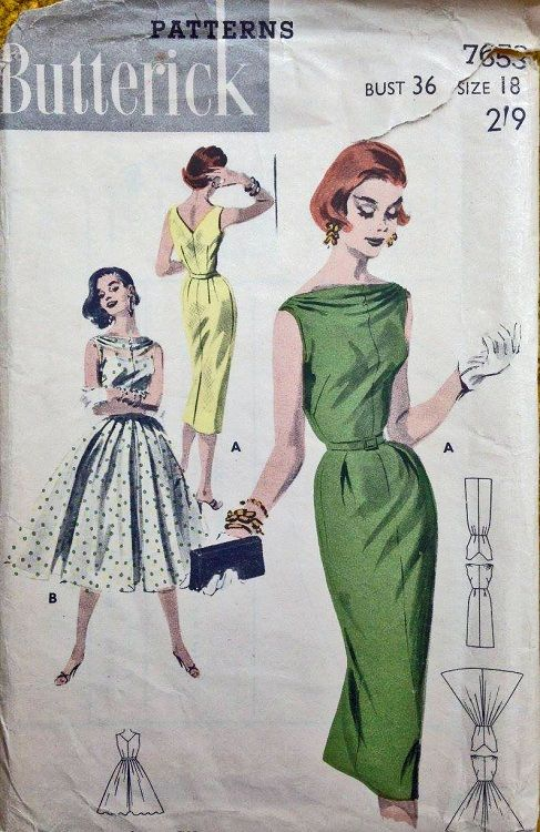 """Butterick 7653. 1956 dress. Bust 36"""". Traced copy. Complete."""