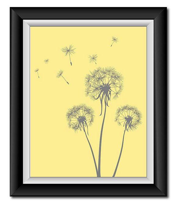 Instant Download Grey Gray Yellow Dandelion Printable Art