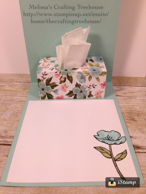 "DIY, Handmade card with surprise Pop Up tissue box inside. The floral image is from the Birthday Blooms stamp set by Stampin' Up!. The Birthday Bouquet designer paper, from the Occasions catalog, is perfect for the ""tissue box"". For more details check out my blog."