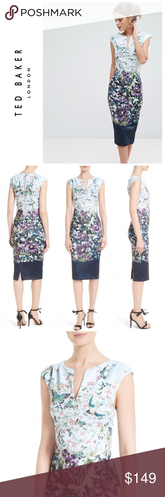 Tiha Entangled Enchantment Floral Dress New with tags, Ted Baker London Tiha Entangled  Enchantment Sheath dress. Simply gorgeous print of florals and butterflies. Ted Baker Size 5. Nordstrom website suggests it will fit US Size 14. Ships next day. Ted Baker London Dresses Midi