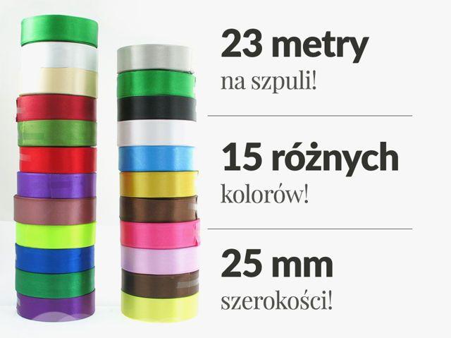 Zestaw Wstążek Tasiemek Satynowych Atłasowych 25mm 10 Szpul po 23m Mix Kolorów HIT! 37,00 zł - Artykuły Pasmanteryjne \ Taśmy Pasmanteryjne i Tapicerskie \ Wstążki Satynowe - MarMon.com.pl