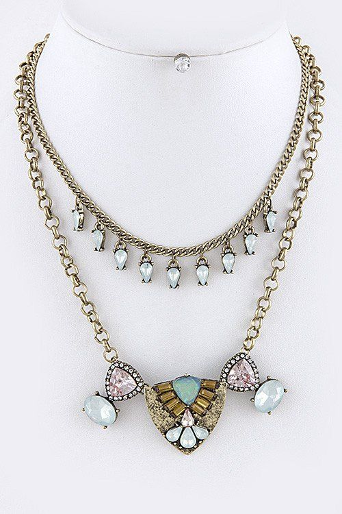 Art Deco Vintage Pastel Jewel Necklace & Earring Set