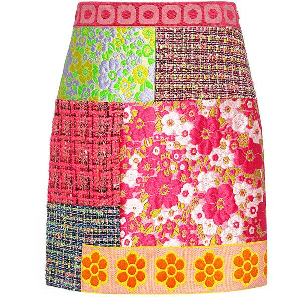 Boutique Moschino - Floral and Plaid Patchwork Tweed Mini Skirt ($575) ❤ liked on Polyvore featuring skirts, mini skirts, pink a line skirt, pink mini skirt, plaid a line skirt, pink plaid mini skirt and short mini skirts