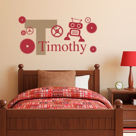 Boys Name Wall Decal with Initial, Robot & Gears - Personalized Boy Decal - Medium on Etsy, $26.00