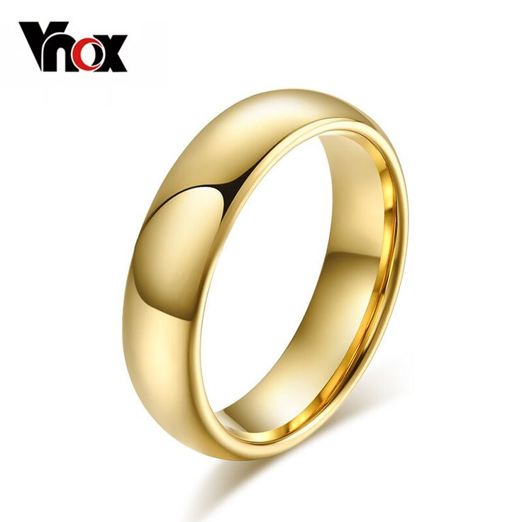 Vnox Classic Tungsten Carbide Ring Gold Plated Wedding Rings for Men Women USA Size Standard