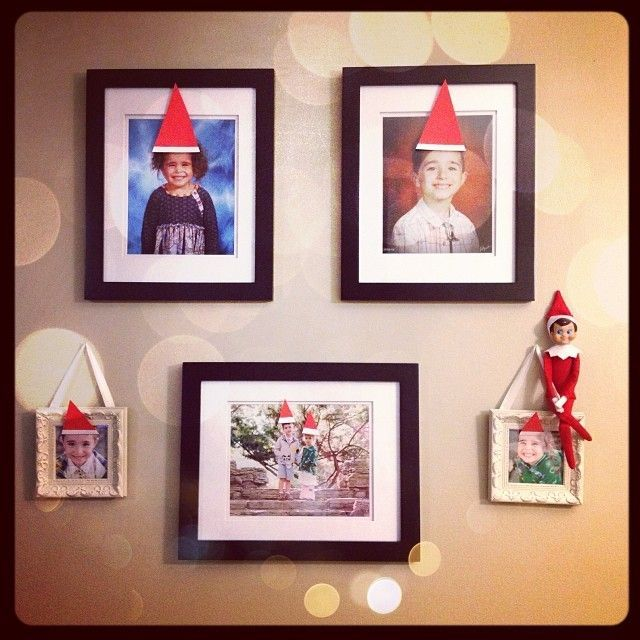 Elf on the Shelf hats on all these pictures....