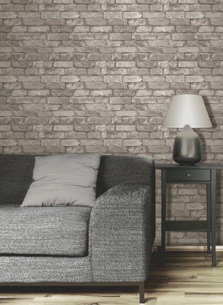a little fakery brick effect wallpaper - Brick Wallpaper Bedroom Ideas