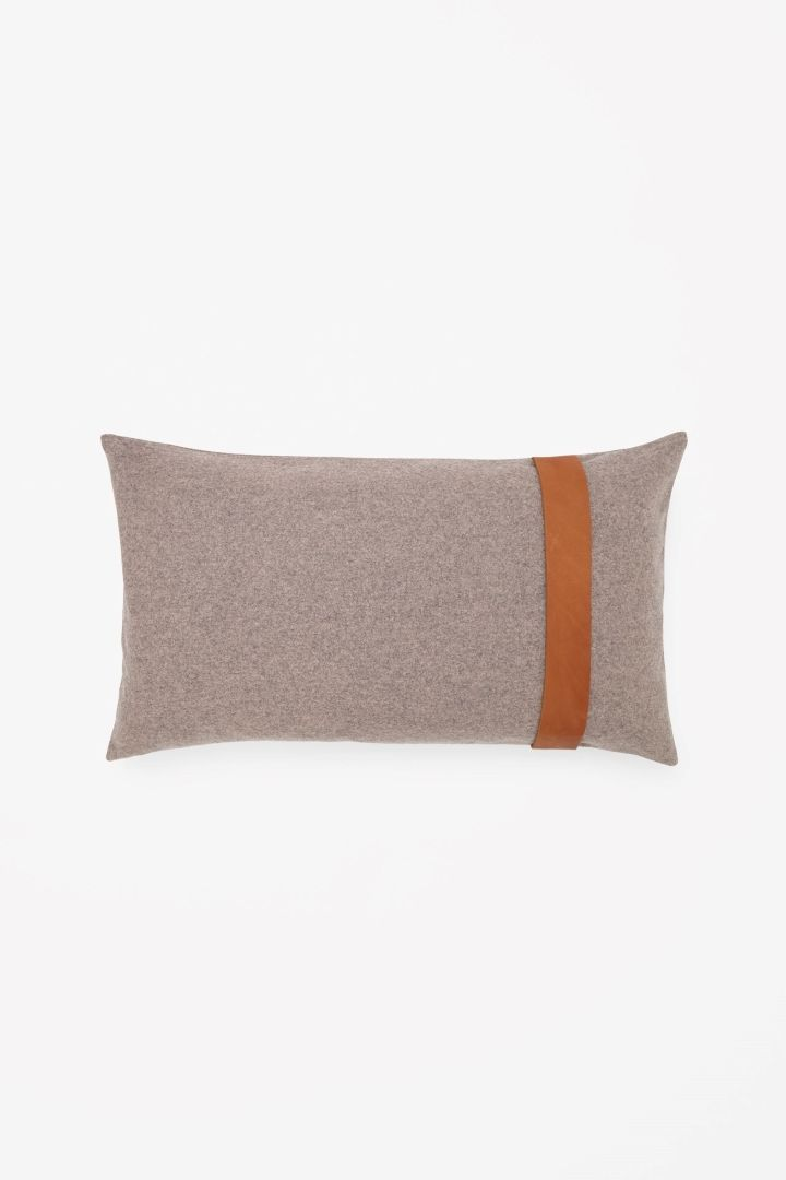 Leather strap rectangular cushion
