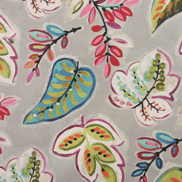 this is a pink blue green and gray floral leaf design cotton drapery fabric